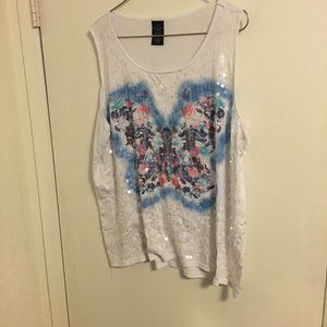 White Tank Butterfly Sequins Knit 3X Plus